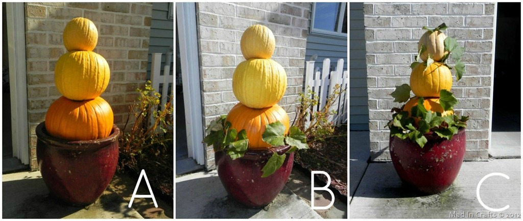 Ombre Stacked Topiary using Real Pumpkins