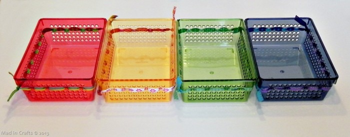 Rainbow Ribbon Bins (from the dollar store)