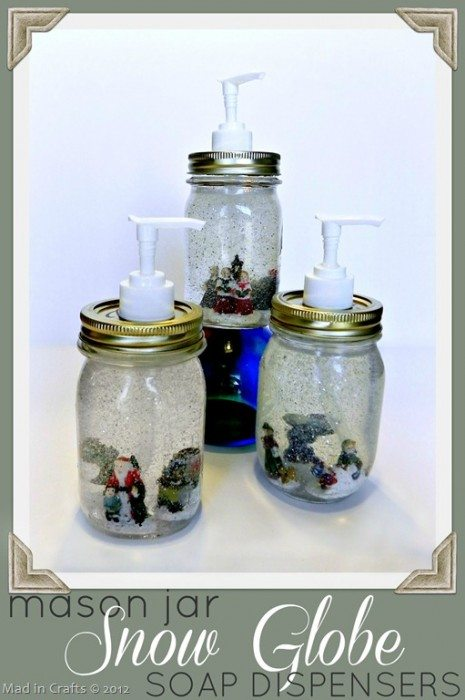 Dollar store mason jar snow globe soap dispensers mad in for Village craft container home