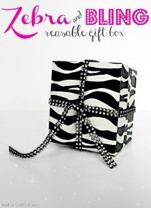 Zebra and Bling Reuseable Gift Wrap