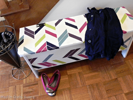 Stenciled Herringbone Entryway Storage Bench