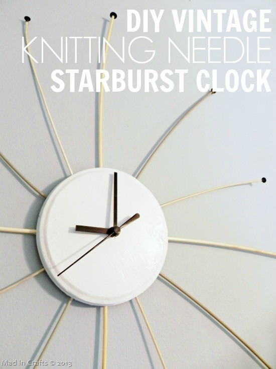 DIY Vintage Knitting Needle Starbust Clock
