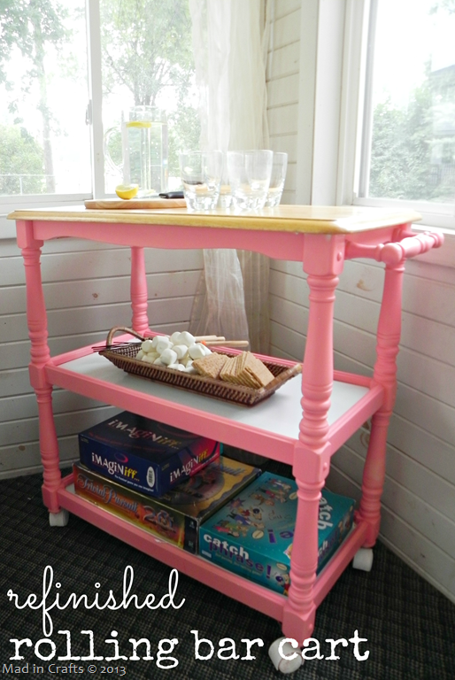 Refinished Rolling Bar Cart