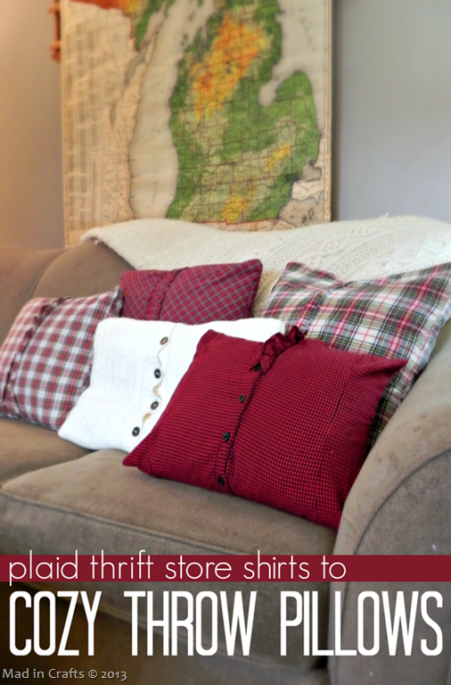 plaid thrift store shirts to cozy throw pillows mad in crafts. Black Bedroom Furniture Sets. Home Design Ideas