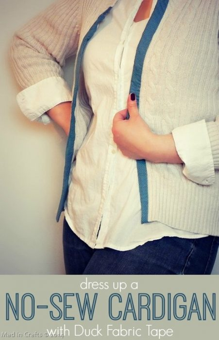 Dress up a Cardigan with Duck Fabric Tape - Mad in Crafts