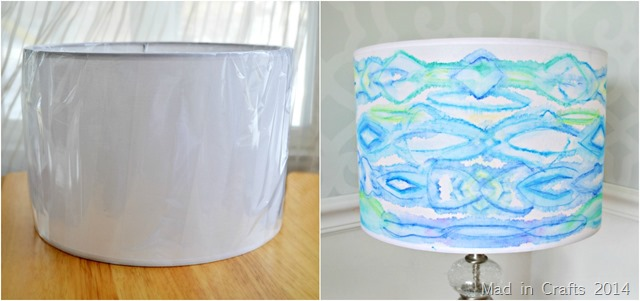 WATERCOLOR LAMPSHADE WITH FABRIC MARKERS