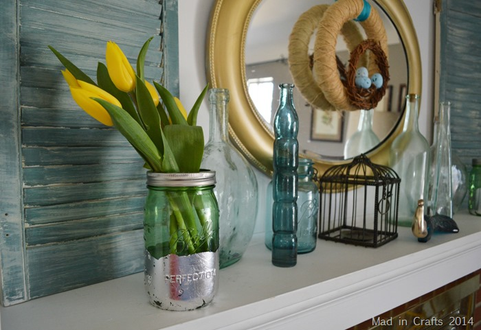Mason Jar Spring Mantel