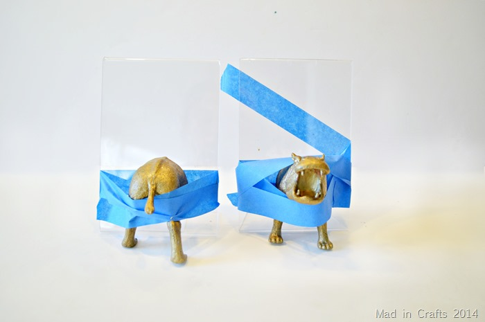 Plastic Animal Bookends Hippo Halves