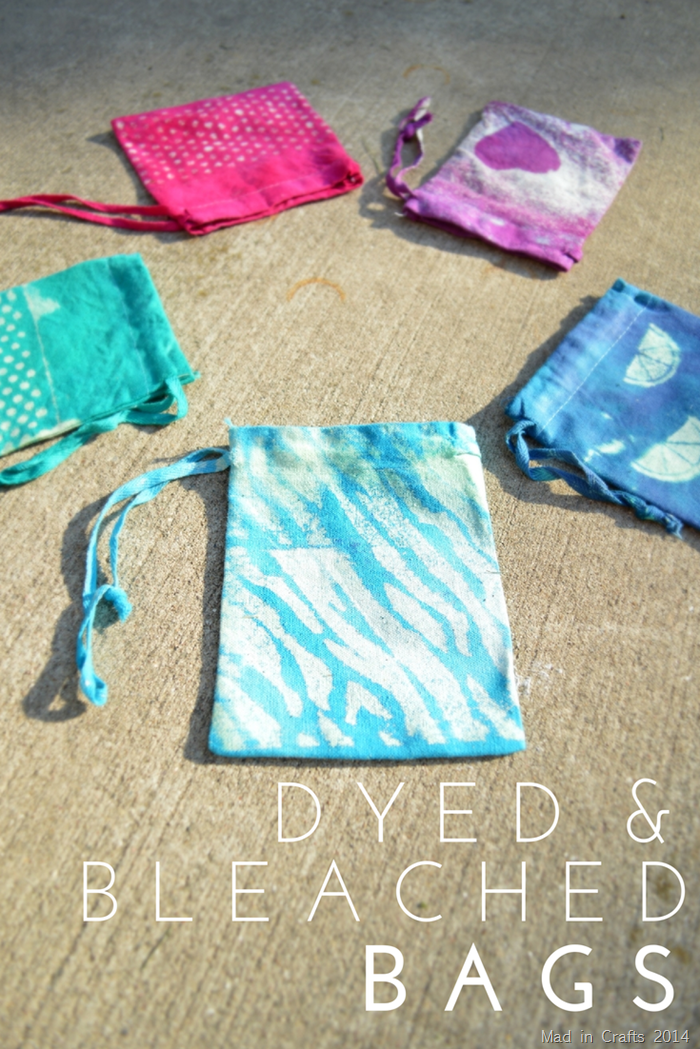 DIY Dyed and Bleached Drawstring Bags