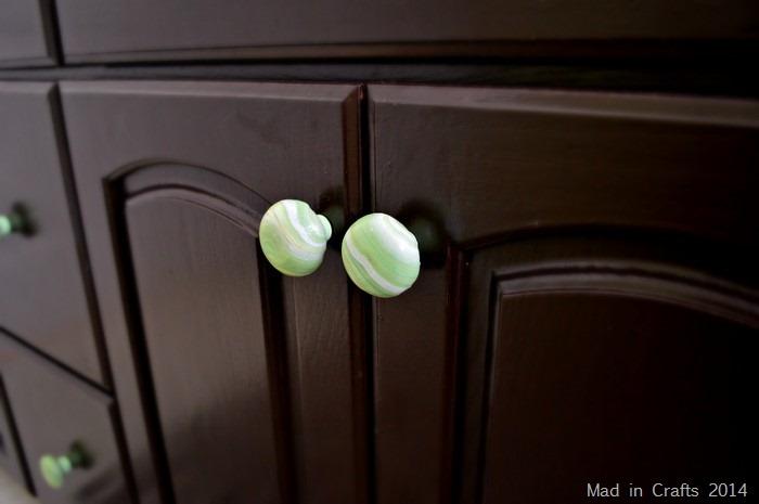 DIY marbled cabinet pulls