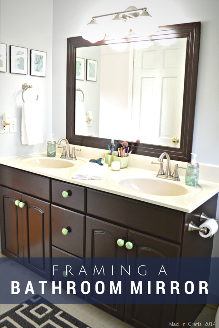 Framed bathroom mirror mad in crafts for How to frame mirror in bathroom