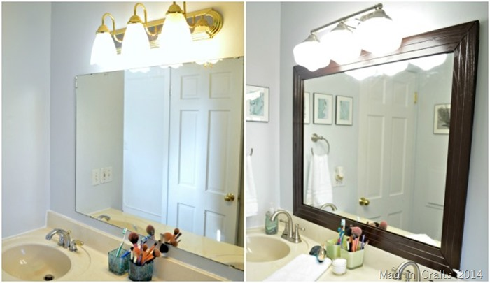 Framing A Bathroom Mirror Before And After framed bathroom mirror