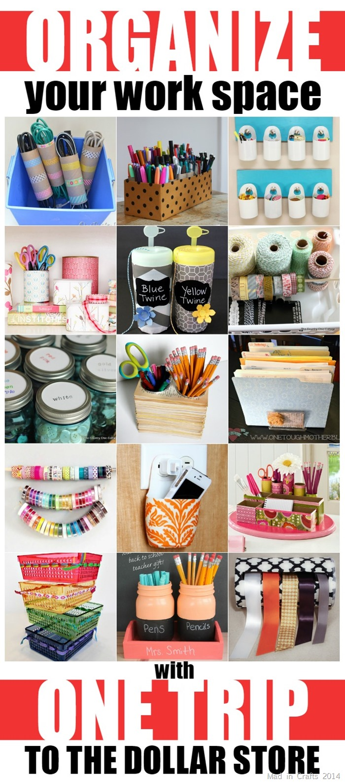 Organize Your Work Space with One Trip to the Dollar Store