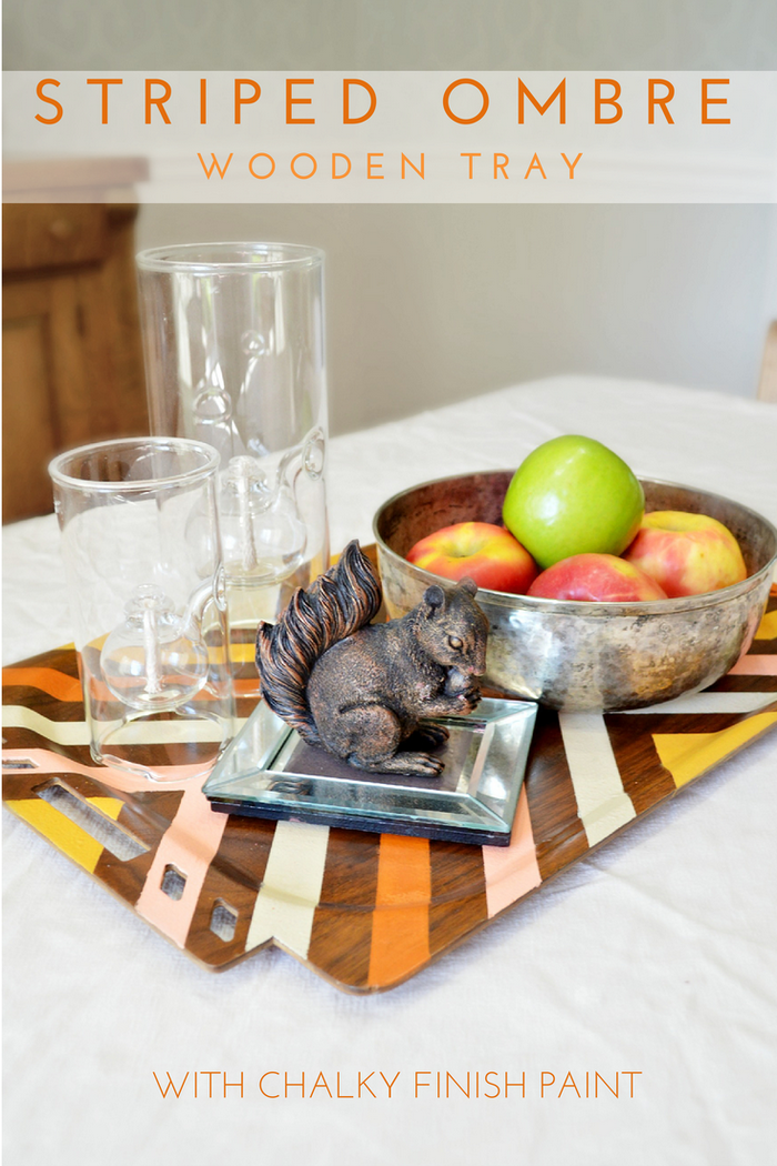 Striped Ombre Chalky Finish Tray (1)