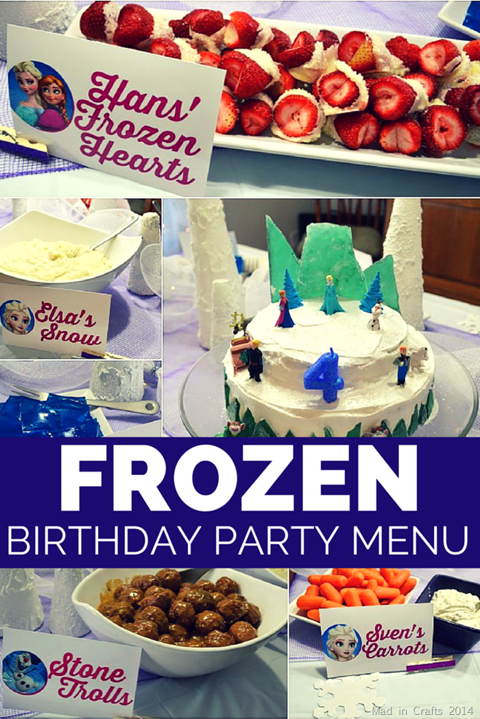 Frozen Birthday Party Dinner Menu