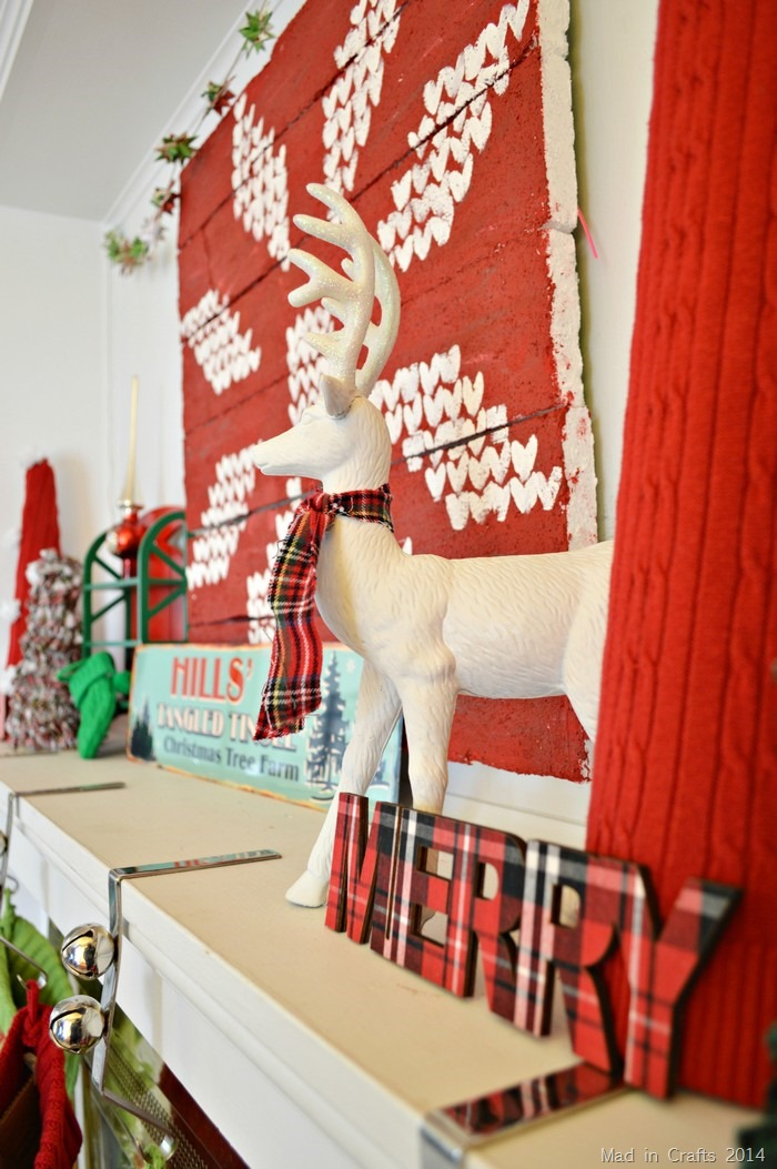 Plaid and Fair Isle Christmas Mantel