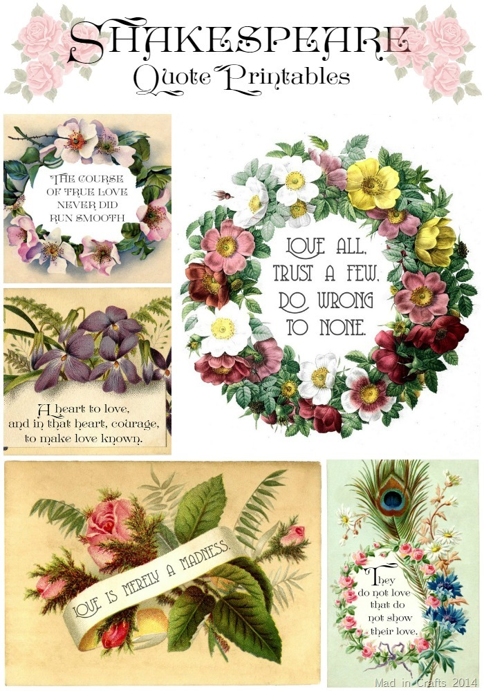Shakespeare Quote Printables for Valentine's Day - Mad in Crafts