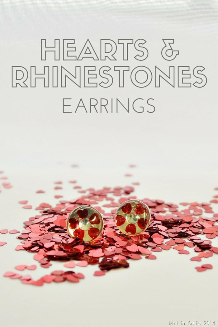 HEARTS &  RHINESTONES EARRINGS