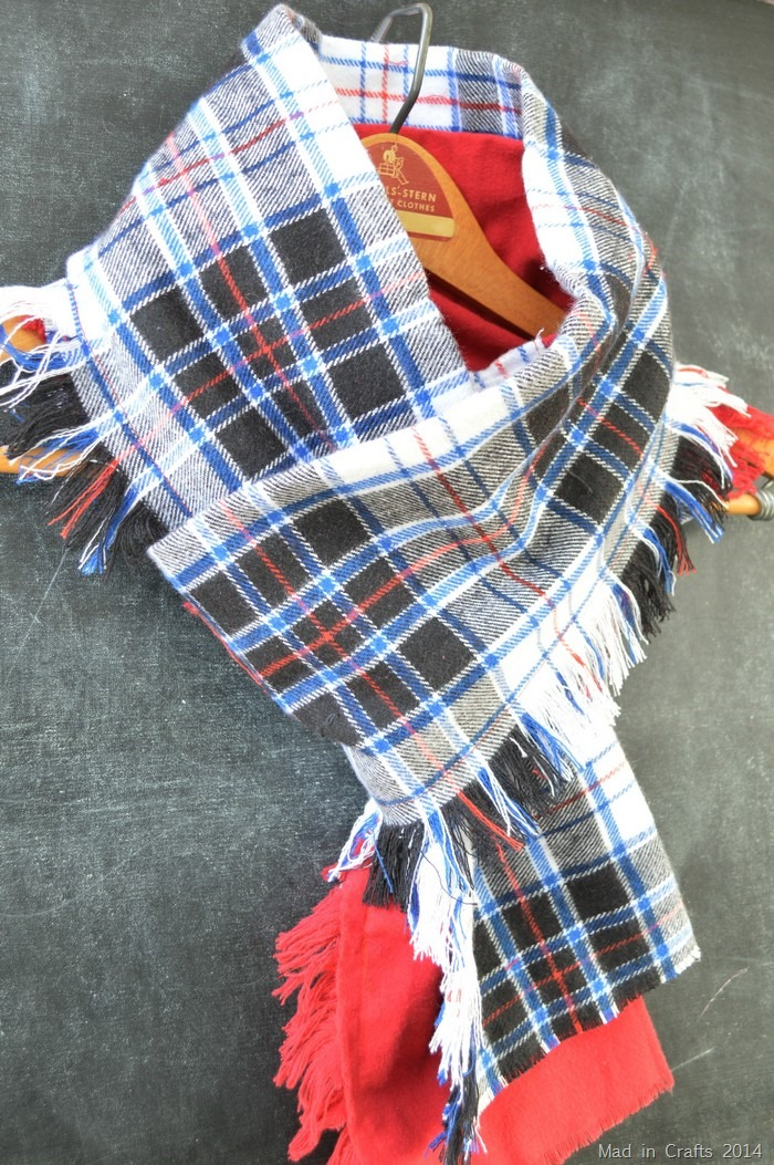 Plaid Fringed Scarf DIY