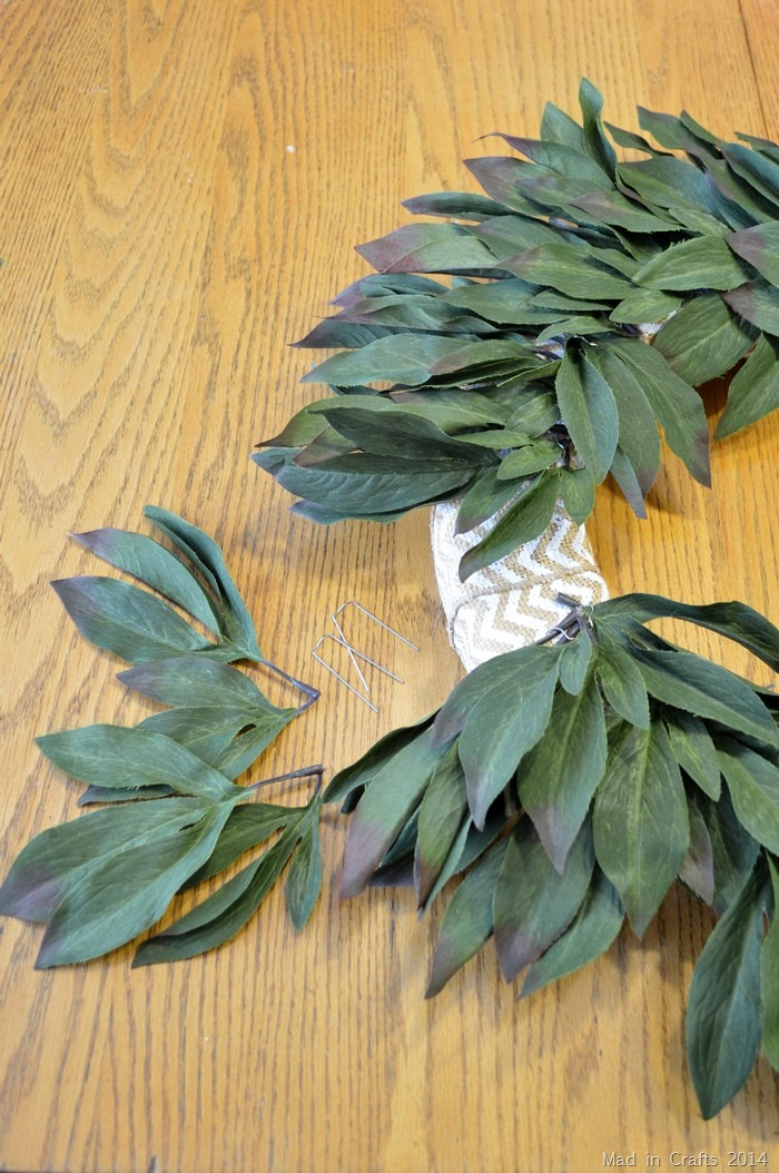 pin leaves to wreath form