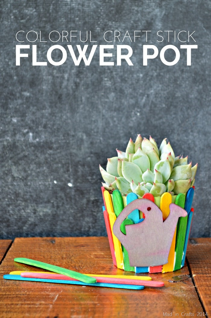 Craft Stick Flower Pot Teacher Gift - Mad in Crafts