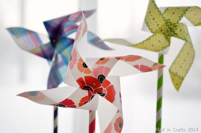 paper straw and washi pinwheel