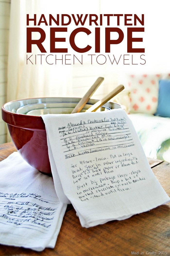 DIY Handwritten Recipe Kitchen Towels