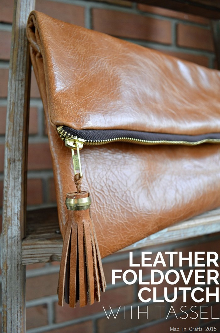 Leather Foldover Clutch with Tassel