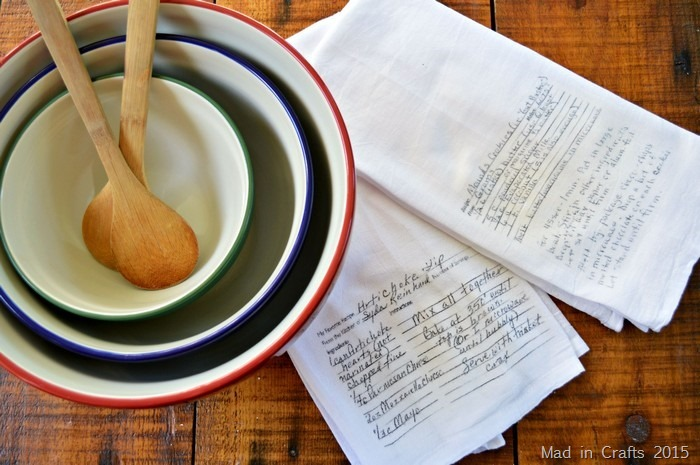 handwritten recipes on kitchen towels