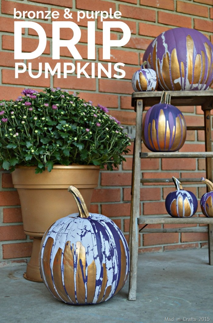 Bronze & Purple Drip Pumpkins