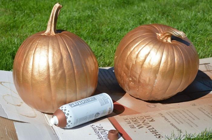 spray painted bronze pumpkins