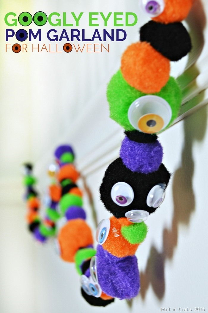 Googley Eyed Pom Garland for Halloween
