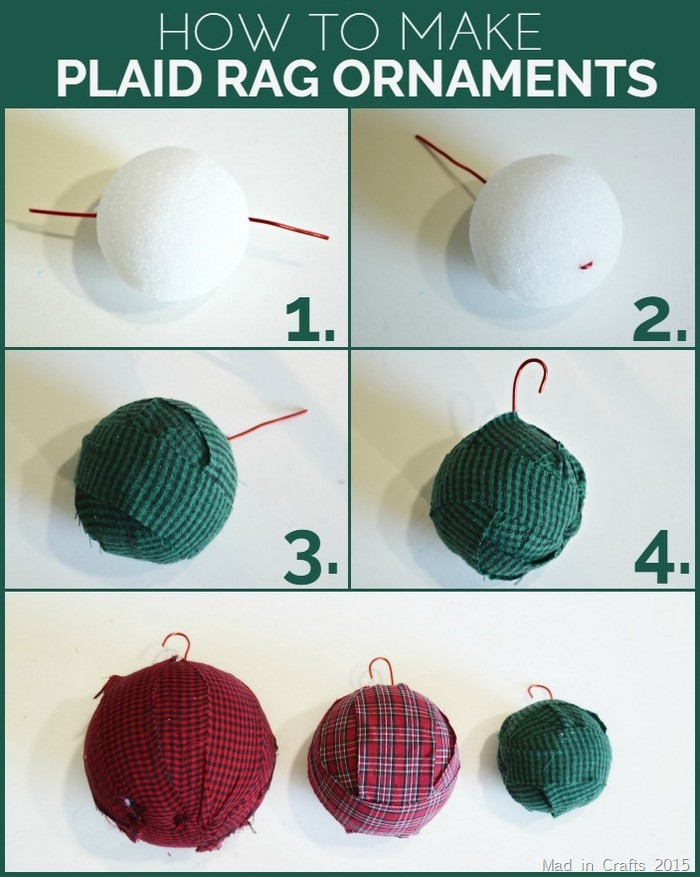 How to Make Plaid Rag Ornaments