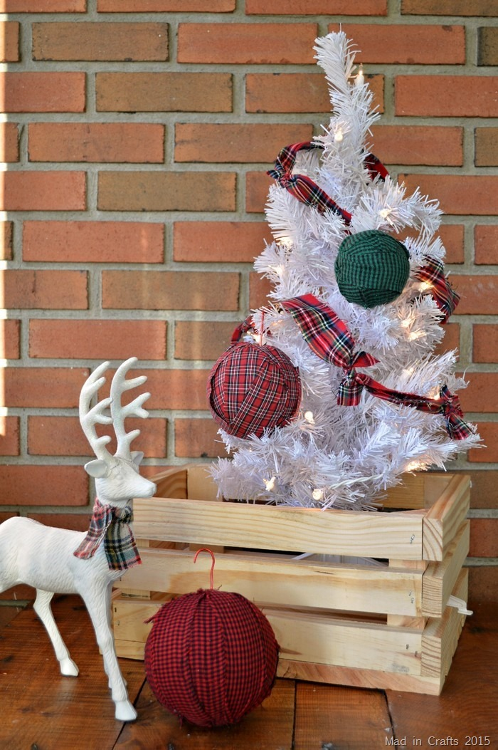 plaid ball ornaments