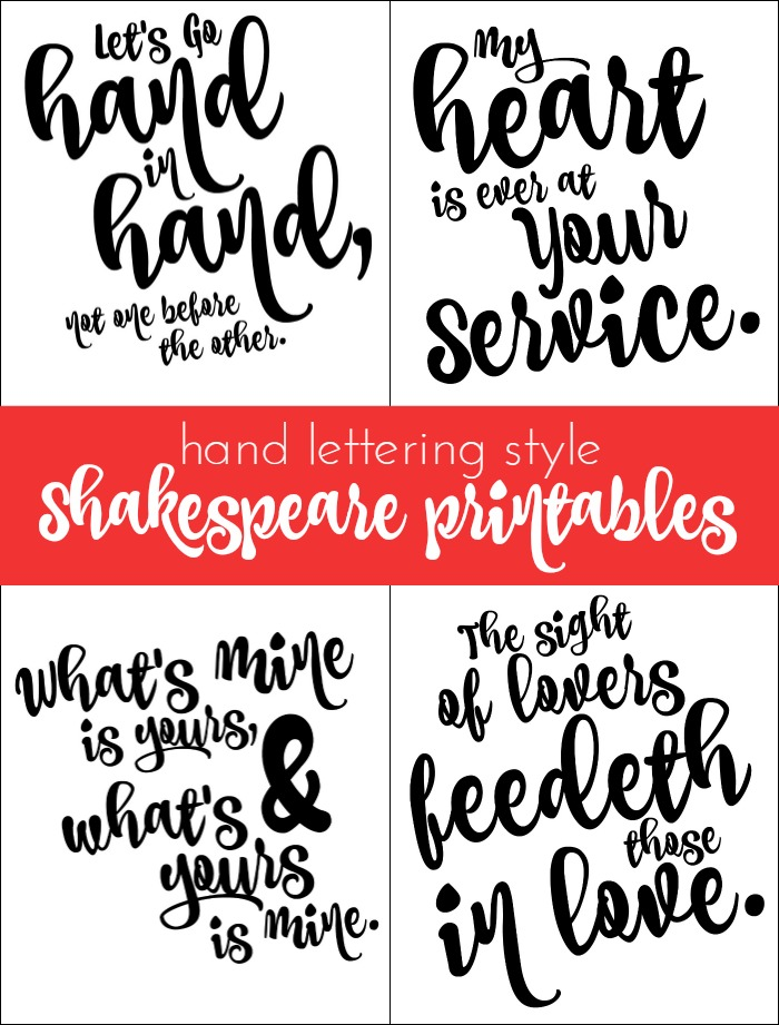 VINTAGE STYLE SHAKESPEARE PRINTABLES FOR VALENTINE'S DAY