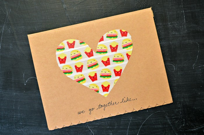 simple washi tape valentines day card