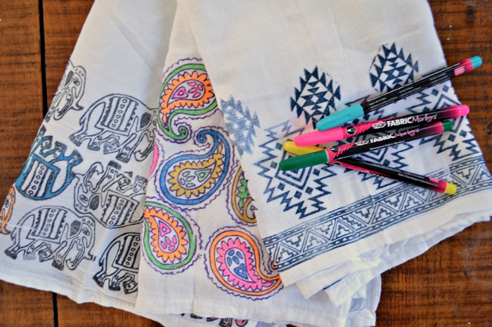 DIY COLORING PAGE TEA TOWELS