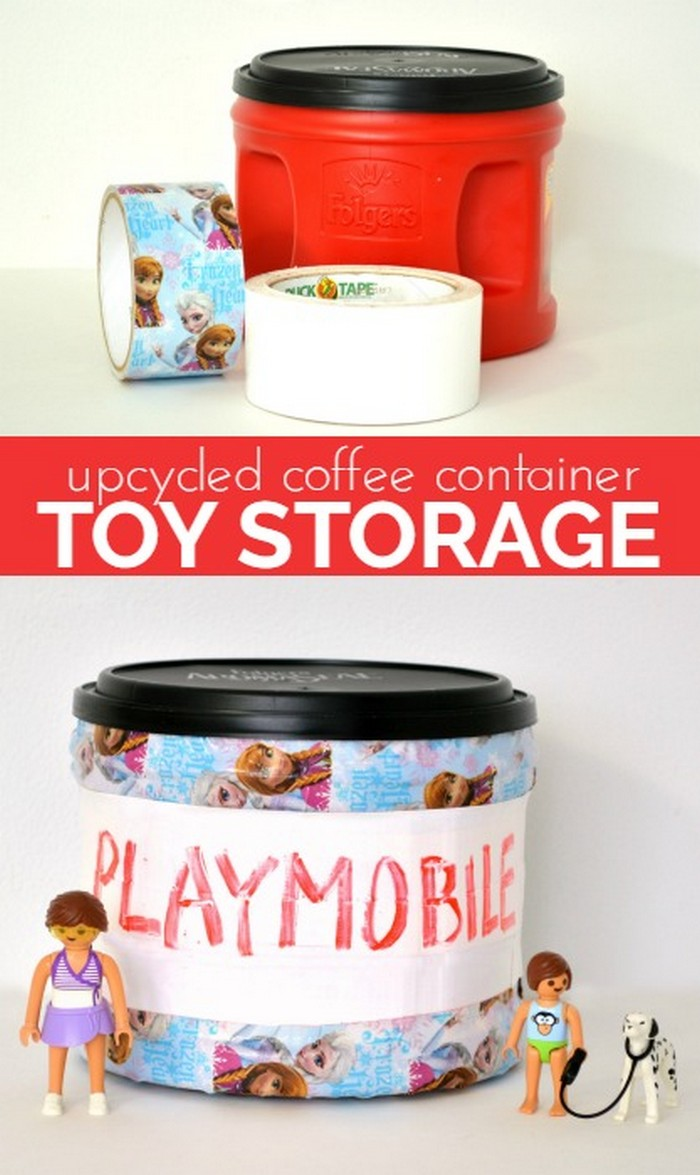 Upcycled Coffee Container Toy Storage
