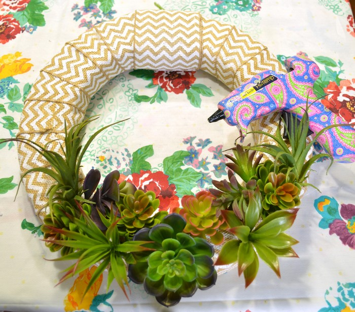 hot glue succulents to wreath
