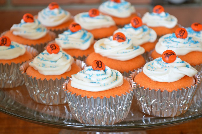 Homemade baseball cupcakes