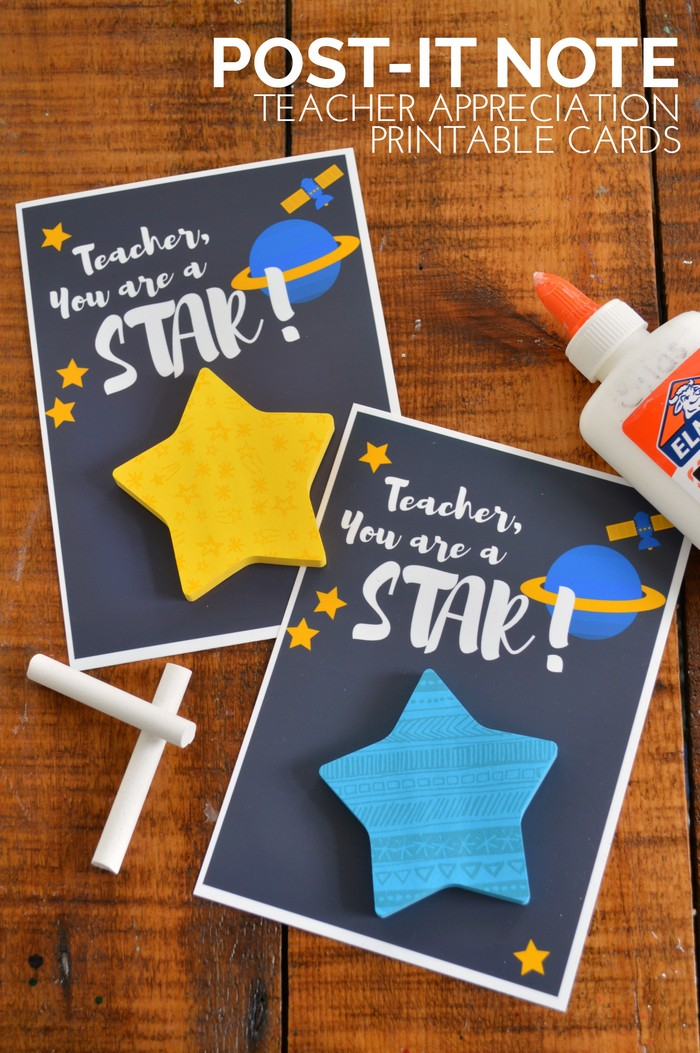 Star Shaped Post-It Teacher Cards