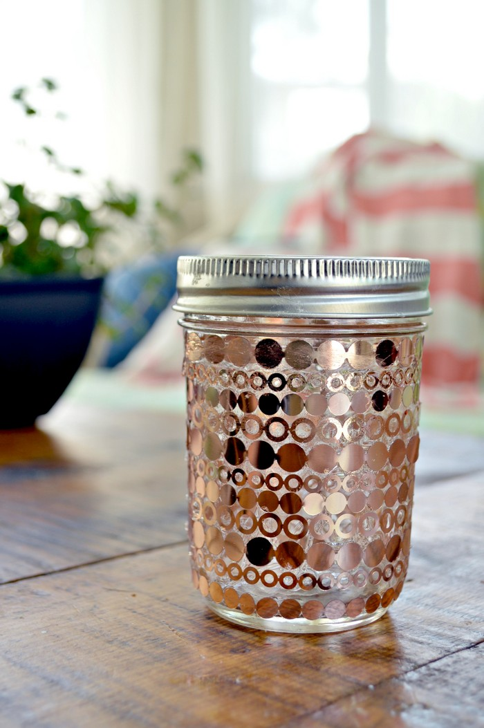 Copper Dot Mason Jar