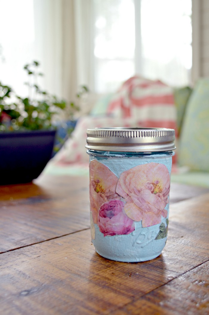 Decoupaged Mason Jar