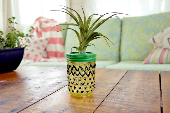 Glass Paint Pineapple Mason Jar