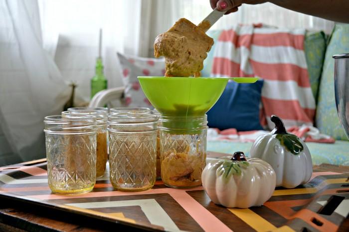 Spoon batter into jars