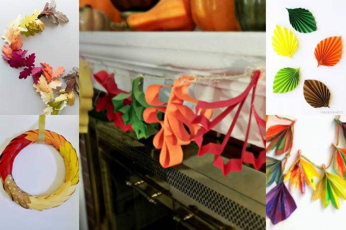 9 PAPER LEAF DECORATIONS FOR THANKSGIVING