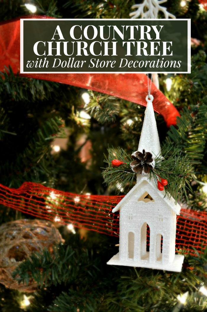 a country church tree with dollar store decorations