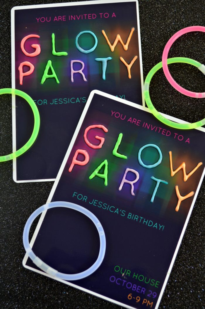 GLOW PARTY INVITATIONS - Mad in Crafts