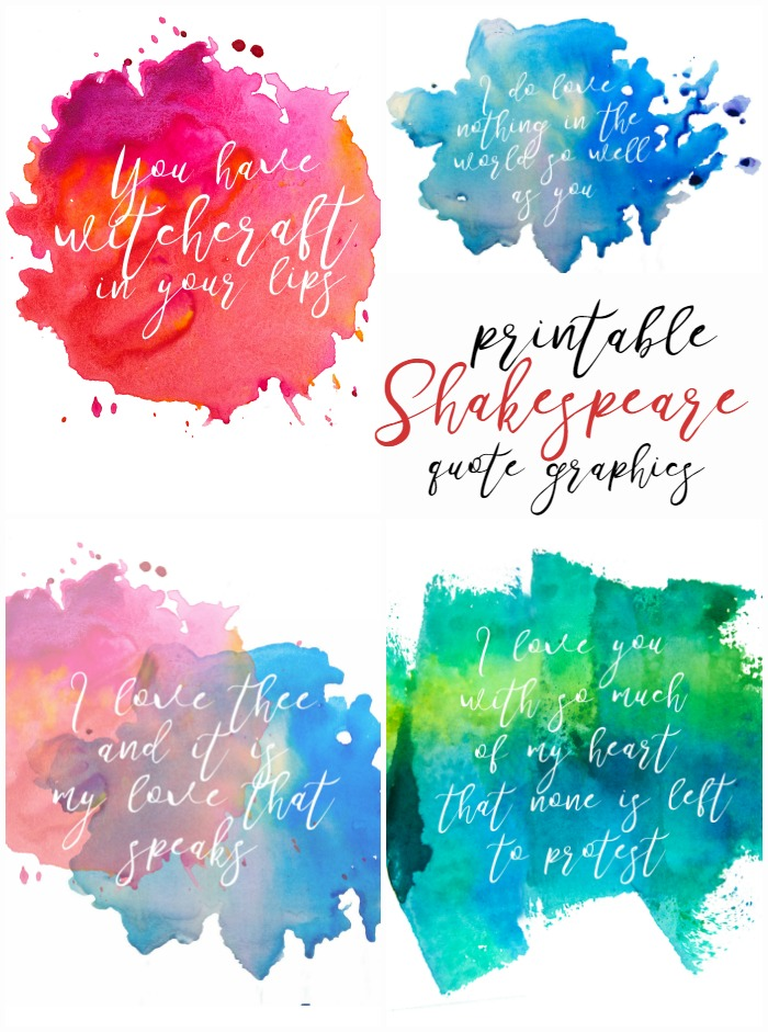 Free Printable Watercolor Style Shakespeare Quote Graphics for Valentine's Day