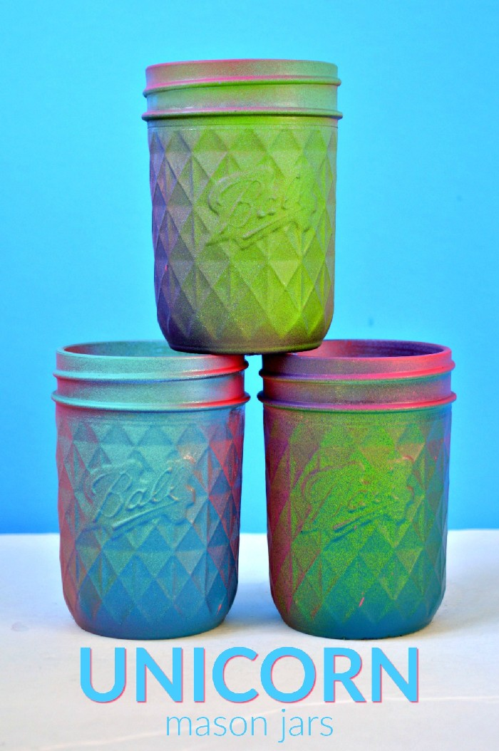SPRAY PAINTED UNICORN MASON JARS